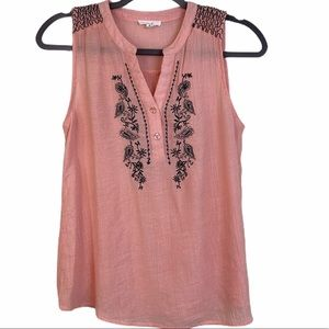 Anthropologie Mine Embroidered Tank